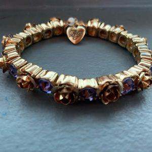 Gold rose with blue rhinestone bracelet